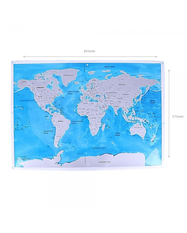 4GL Blue Scratch Off Large Educational World Map Travel Map Wall Map Poster