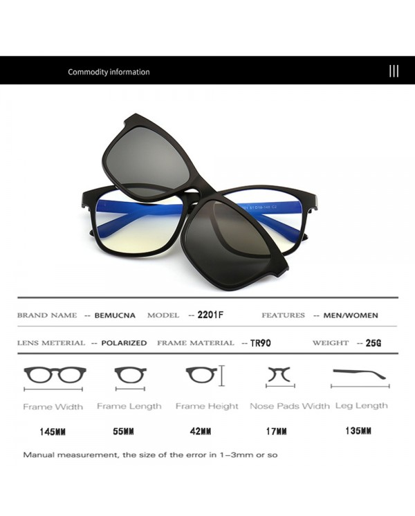 4GL 2201F Anti Blue Light Computer Glasses Polarized Sunglasses Clip On TR90