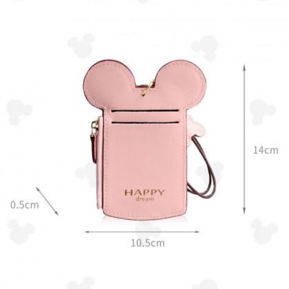 4GL Mickey Happy Dream 1214 Credit Card ID Card Holder Zipper Coin Pocket Purse With String Key Chain