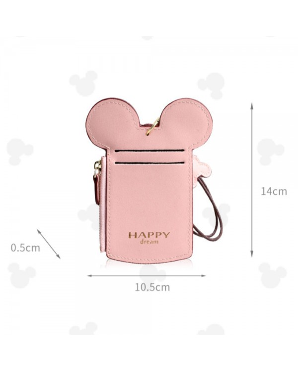 4GL Mickey Happy Dream 1214 Credit Card ID Card Holder Zipper Coin Pocket Purse With String Key Chain