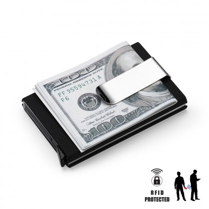 4GL RFID Protected Pop-up PU Leather Metal Card Holder Money Clip A0508