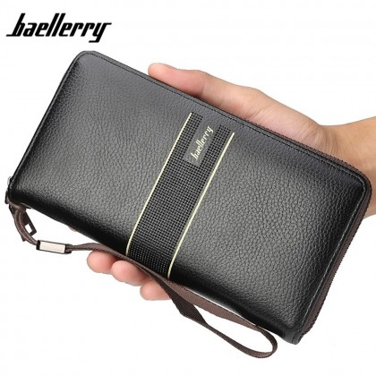 4GL Baellerry S6088 Men Wallet Long Zipper Purse Wristlet Dompet
