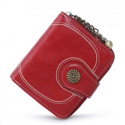 4GL Women Retro Flower 173 Oil Wax Leather Short Purse Wallet Bag Beg Women