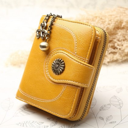4GL 173 Short Purse Women Retro Flower Oil Wax Leather Wallet Bag Beg Women
