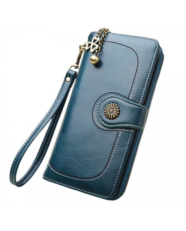 4GL 170 Fashion Lady Retro Flower Oil Wax Leather Long Purse Wallet Wallets Dompet