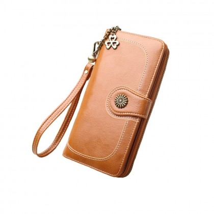 4GL 170 Long Purse Fashion Lady Retro Flower Oil Wax Leather Wallet Wallets Dompet