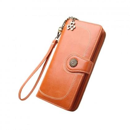 4GL 170 Long Purse Fashion Lady Retro Flower Oil Wax Leather Wallet Wallets Dompet