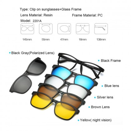 4GL 2201A Magnetic Clip On 6 in 1 Polarized UV Protection Sunglasses