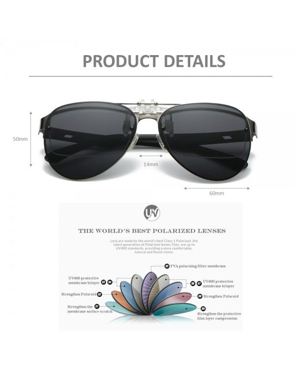 4GL CS12 Fashion Metal Frame Clip On Polarized Sunglasses