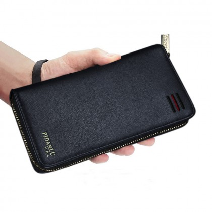 4GL Pidanlu S2173 Long Wallet Men Women Zipper Purse Wristlet Dompet
