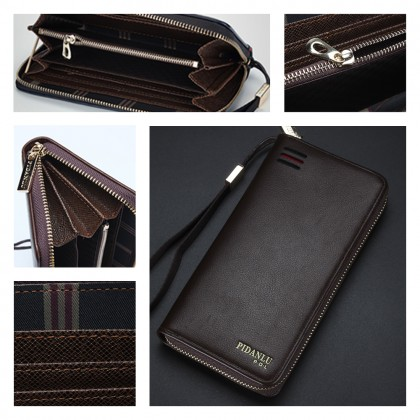 4GL Pidanlu S2174 Long Wallet Men Women Zipper Purse Wristlet Dompet