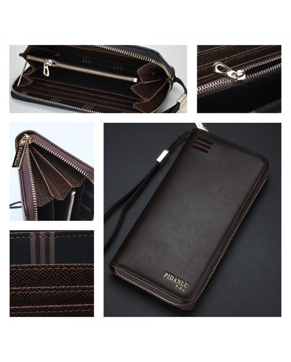 4GL Pidanlu S2174 Men Women Long Zipper Wallet Purse Wristlet Dompet