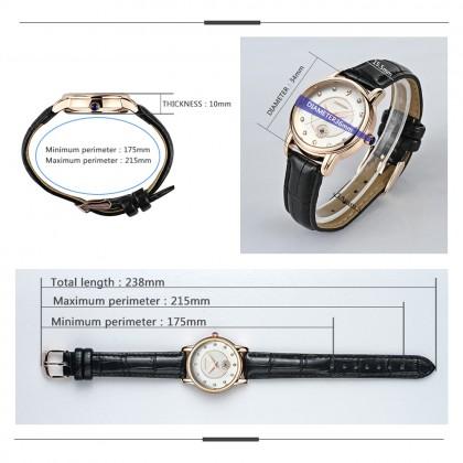 4GL Sanda P198 Luxurious Rose Gold Diamond Design Leather Belt Ladies Watch Jam Tangan