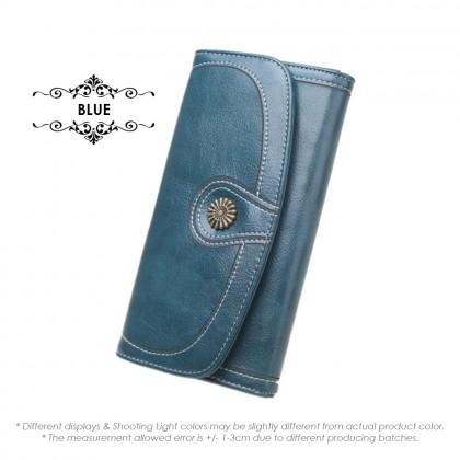 4GL 171 Retro Long Purse Oil Wax Leather Women Zipper Pocket Wallets Dompet