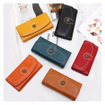 4GL 171 Retro Oil Wax Leather Women Long Purse Zipper Pocket Wallets Dompet