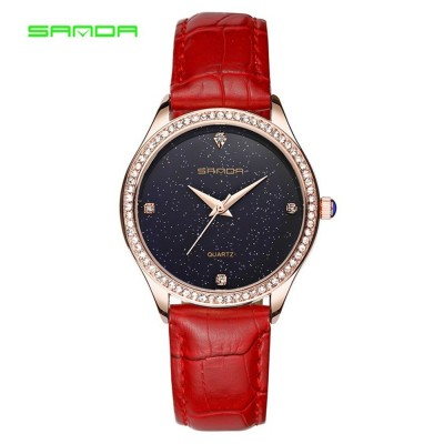 4GL SANDA P214 Simple Quartz Star Dial Women Watches Jam Tangan