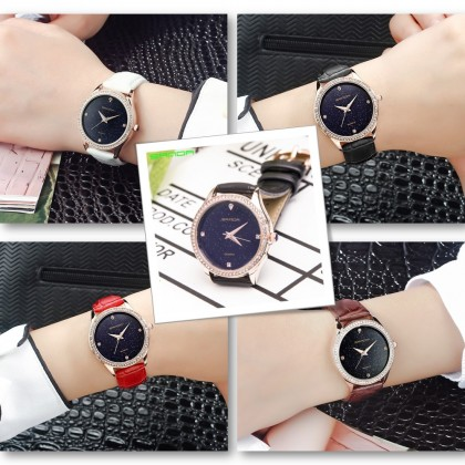 4GL Sanda P214 Watch Simple Quartz Star Dial Women Watches Jam Tangan