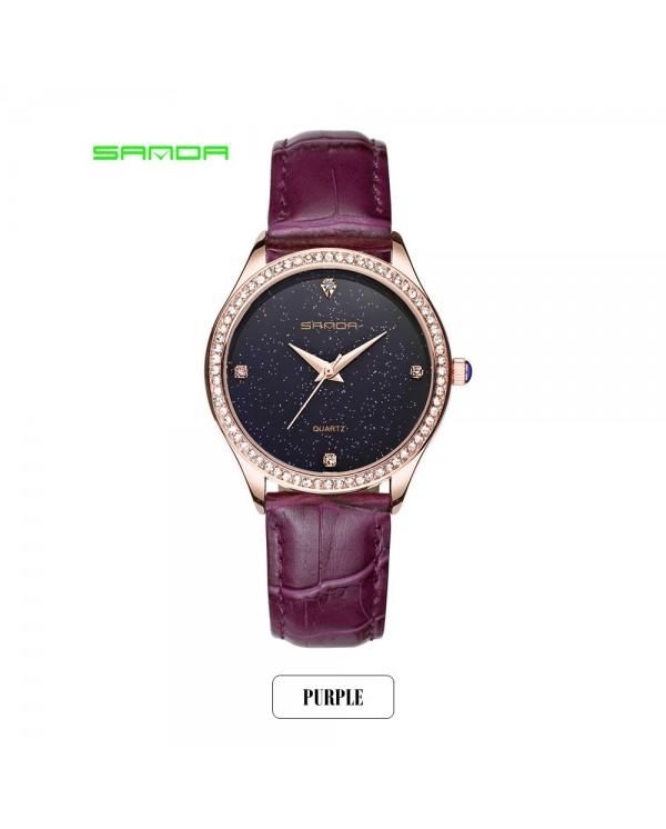 4GL SANDA P214 Simple Quartz Star Dial Women Watches Jam Tangan