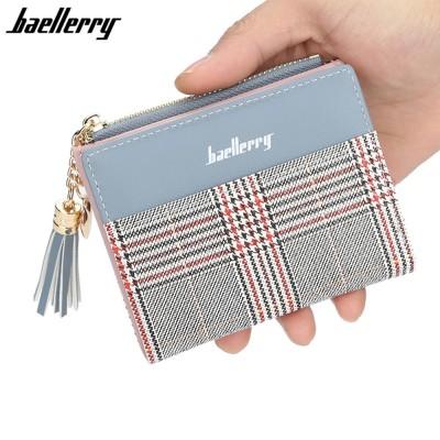 4GL Baellerry DR020 Check Design Women Coin Zipper Short Purse Dompet