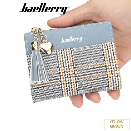 4GL Baellerry DR020 Check Design Women Coin Zipper Short Purse Dompet
