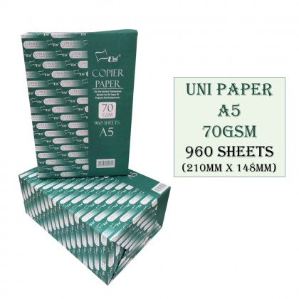 4GL Uni Paper A5 Size 210mm x 148mm 70GSM 960 Sheets