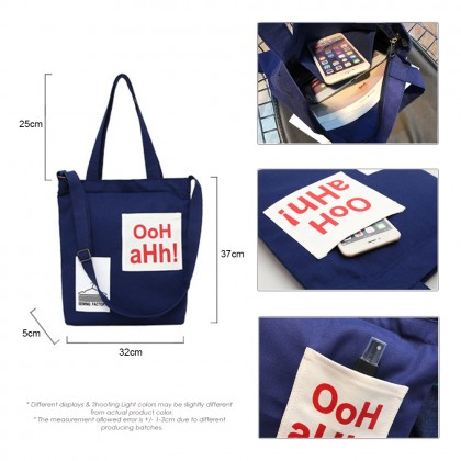 4GL OOH AHH! Korean Fashion Canvas Tote Bag Adjustable Shoulder Beg Sling Beg A0621