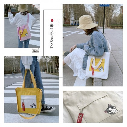 4GL Korean Cute Cat Casual Design Mix-Color Pocket Canvas Shoulder Sling Tote Bag A0622