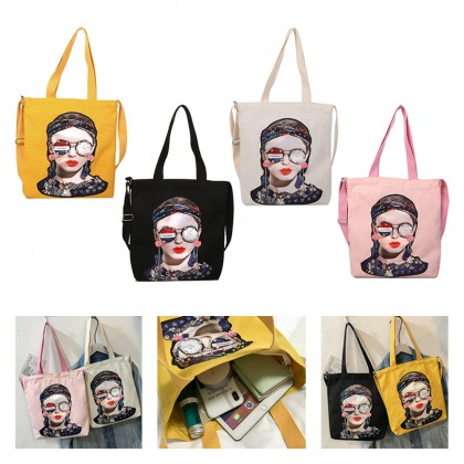 4GL Korean Style Girls Fashion Diamond Earrings Design Casual Canvas Tote Bag A0623 Sling Bag Shoulder Bag