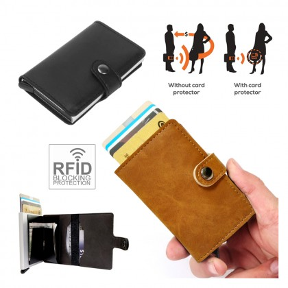 4GL CZ050 Premium Smartcase RFID Metal Card Holder PU Leather Cover Wallet A0510