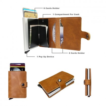 4GL CZ050 Card Holder Premium Smartcase RFID Metal PU Leather Cover Wallet A0510