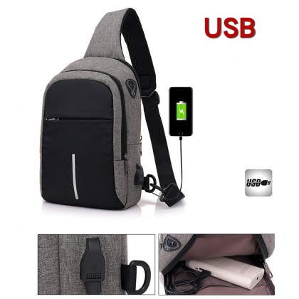 4GL 1Line Crossbody Men Woman Unisex Fashion USB Sling Bag Chest Bag