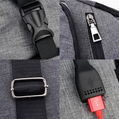 4GL MJL Crossbody Men Woman Unisex Fashion USB Sling Bag Chest Bag