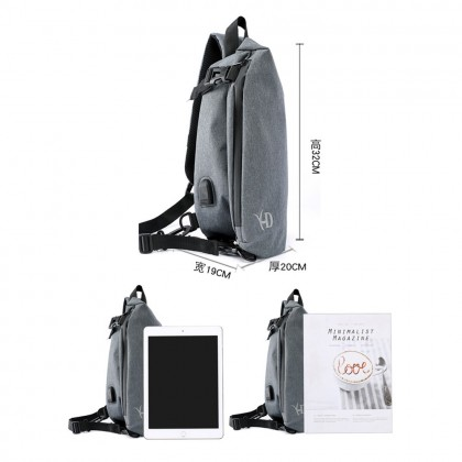 4GL 8019 Crossbody XD Men Woman Unisex Fashion USB Sling Bag Chest Bag