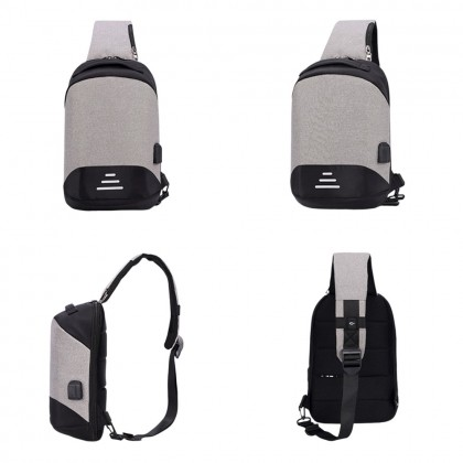 4GL 3Lines Crossbody Fashion Anti Theft Thief USB Sling Bag Chest Bag