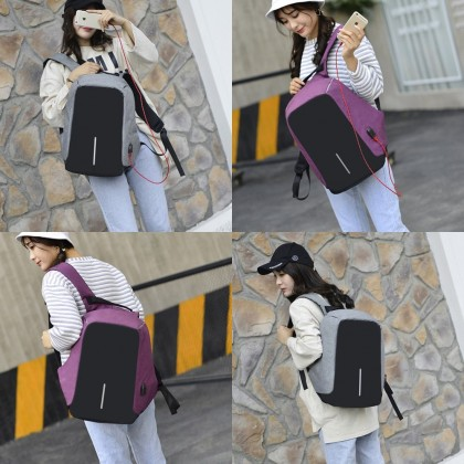 4GL 1Line Backpack Anti Theft Thief USB School Bag Beg Sekolah Laptop Bag Beg