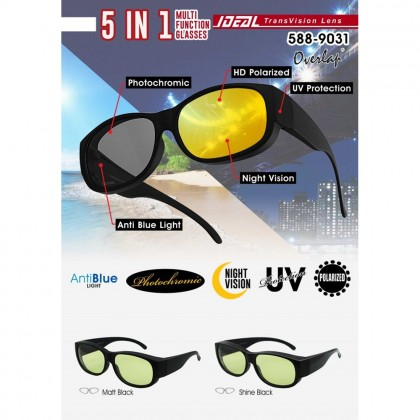 4GL Ideal 588-9031 Polarized Glasses 5 In 1 Multi Function Photochromic HD UV Protection Sunglasses