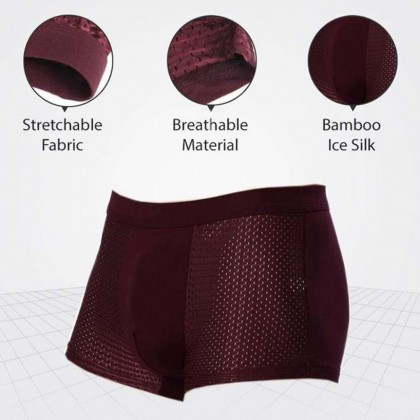 4GL Men Underwear Comfortable Breathable Bamboo Fiber Boxer Briefs Panties G0901