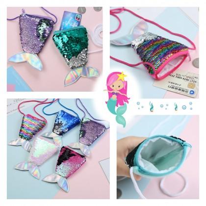 4GL Mermaid Sling Bag Glitter Little Sequins Mini Coin Purse Pouch A0909