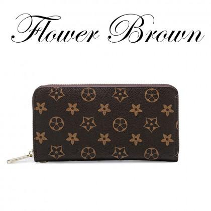 4GL Flower Square Long Purse Women Purse Leather Wallet Dompet Bag Beg A0340