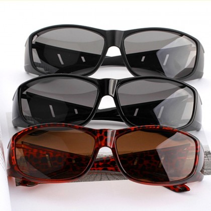 4GL Red Leopard Polarized Sunglasses Overlap Fit Over Eyewear
