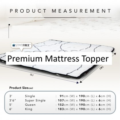 4GL MTI Statfree Mattress Topper Pad Tilam Brand New Statfree Technology of Belgium (Free PM 2.5 Mask)