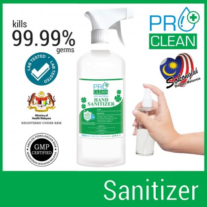 (Ready Stock) Pro Clean Instant Hand Sanitiser Sanitizer 70% Alcohol 120ml Gel / 500ml Liquid Spray