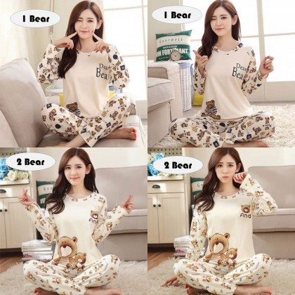 4GL Women Cartoon Pyjamas Long Sleeve Nightwear Pajamas Set Baju Tidur Perempuan