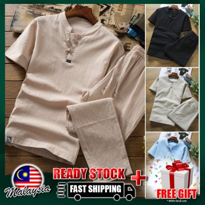 4GL Benchu Men Kurta Shirt Set Fashion Men Short Sleeve Slim Fit Leisure Dress Blouses