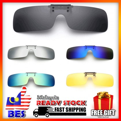 4GL CS07 Clip On Polarized Sunglasses Day Night Vision Driving Glasses Eyewear Cermin Mata