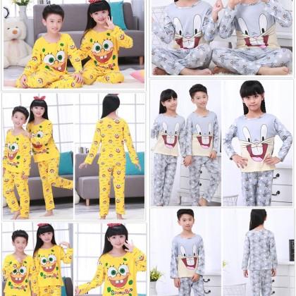 4GL KIDS CARTOON Pyjamas Long Sleeve Nightwear Pajamas Set Baju Tidur Tido Budak