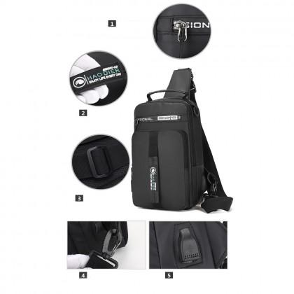 4GL HAODIER 3 WAYS USE BAG Crossbody USB Backpack Sling Bag Chest Bag Waist Pouch Beg