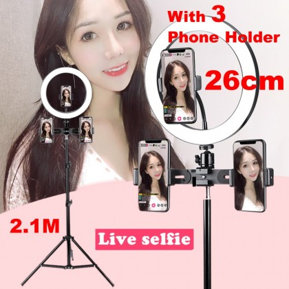 4GL 26CM Ring Light For Mobile Phone Shooting Live Streaming Fill Light With 2.1M Tripod And 3 Phone Holder